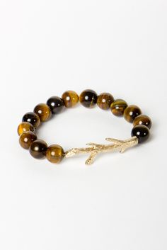 Tiger's Eye Branch Bracelet. I love everything about this. Beaded Jewelry, Beaded Bracelets, Unusual Jewelry, Arm Party, Glitz And Glam, Crown Jewels, Tiger Eyes, Bangles, Girly