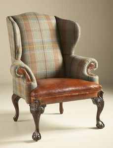Maitland Smith 4330-879 Relaxed Hunt Club Finished Wing Back Chair, Wool Plaid and Cognac Leather Upholstery