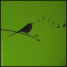 ANIMAL : Bird singing music notes becoming butterflies - WALL DECAL - Kids, nursery, bedroom on Etsy, $12.00
