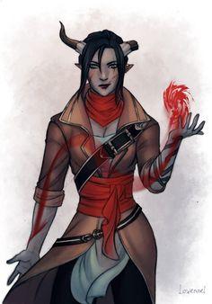 Female qunari tiefling sorcerer