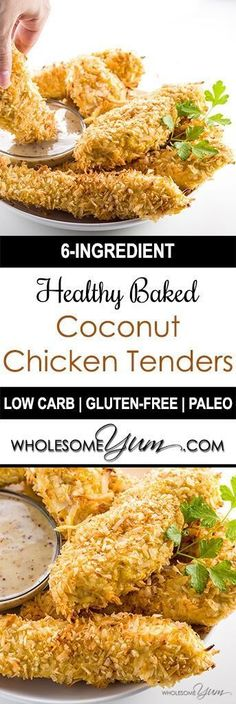 Low Carb Meals Baked Coconut Chicken Tenders (Low Carb, Paleo) - This healthy, baked coconut chicken tenders recipe needs only 6 ingredients. Naturally low carb, paleo, and gluten-free. Paleo Coconut Chicken, Coconut Chicken Tenders, Healthy Baked Chicken Tenders, Recipes With Chicken Tenders, Healthy Chicken Strips, Healthy Chicken Fingers, Coconut Chicken Strips, Gluten Free Chicken, Vegetarian Recipes