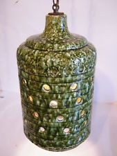 Estate Find Vintage Mid Century Modern Ceramic Hanging Swag Lamp Green