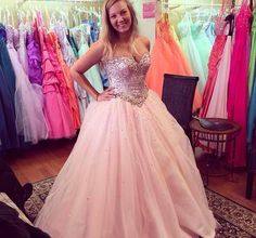 Pink sparkly ball gown prom dress tulle
