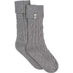 Ugg Women's Shaye Tall Rainboot Sock ($39) ❤ liked on Polyvore featuring intimates, hosiery, socks, kousen, seal, cable knit socks, logo socks, ugg socks, ribbed socks and tall socks