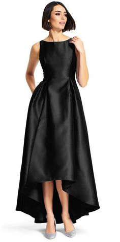 Chic black satin hi-low gown
