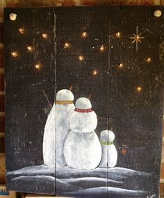 Snowmen on a starry nighty lighted by LindaJCreations on Etsy Christmas Canvas, Christmas Paintings, Christmas Wood, Christmas Signs, Christmas Snowman, Christmas Projects, Winter Christmas, Christmas Decorations, Christmas Ornaments