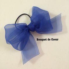 ハンドメイド♡ フェミニンシフォンリボンゴム♡ 全6色♡ロイヤルブルー  http://s.ameblo.jp/bouquet-de-coeur/  Handmade ribbon hair accessory Royal blue colour