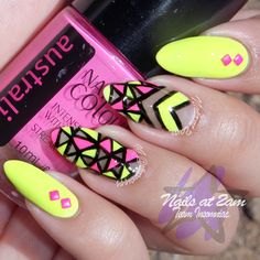 #nail #unhas #unha #nails #unhasdecoradas #nailart #gorgeous #fashion #stylish #lindo #cool #cute #fofo #neon #amarelo #rosa #yellow #pink #black #preto