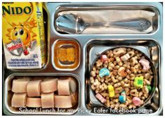 Running late! His favorite cereal, milk, banana (in the outside of the lunch bag), turkey breast sliced rolled in cheese and vitamins... Ready in 3 minutes. School Lunch for my Picky Eater facebook page. Planetbox, kids food fun happy healthy ♥ CLICK THE PICTURE FOR MORE!
