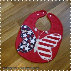 Butterfly Baby Bib Patriotic American Flag 4th of by wrkdesigns