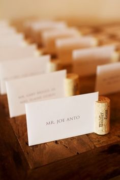 Another way to do Wine Cork Wedding Place Card Holders. Probably stand up better than when you put the cork on the bottom! Wine Cork Wedding, Wedding Table, Cork Place Cards, Party Planning, Wedding Planning, Cork Crafts, Wedding Places, Wedding Pins, Wedding Blog