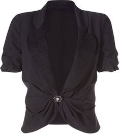 ShopStyle: Emanuel Ungaro Black Short Sleeve Draped Jacket