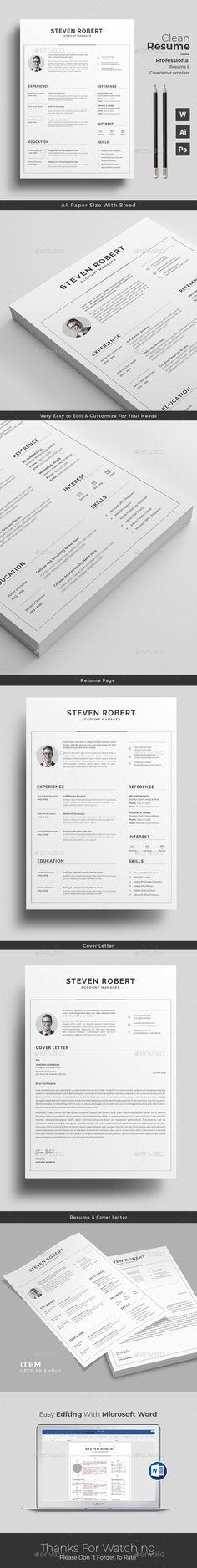 Resume Template PSD, AI Illustrator, MS Word