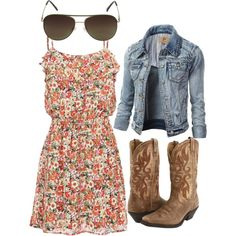"""floral cowgirl dress with aviators"" by bellalee2000 on Polyvore"