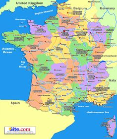 France.  Map of regions