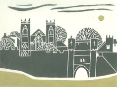 York Walls - Linocut - Original Print - Medieval City UK ,Charcoal Gray and Green, Contemporary Art