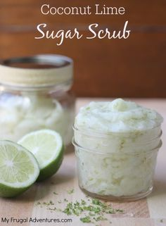 Homemade Coconut Lime Sugar Scrub- so fresh and easy. A wonderful gift idea!