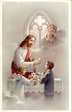 The first holy communion Communion Prayer, First Holy Communion, Virgin Mary Art, Jesus Christ Painting, First Communion Decorations, Vintage Holy Cards, Jesus Christ Images, Christian Pictures, Religious Pictures