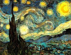 Vincent van Gogh: Starry Night - 1889  It deserves all the attention.  I never tire of it. More beautiful in person, but even a print is stirring-sb