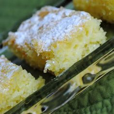 Two-Ingredient Lemon Bars  -Angel food cake mix -Can of lemon pie filling