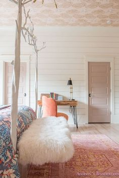 A young girl's bedroom design featuring whitewashed hardwood flooring from Shaw Floors, anthropologie Girl Bedroom Designs, Girls Bedroom, Anthropologie Bedroom, Create Your House, White Shiplap Wall, My New Room, Beautiful Bedrooms, Home Decor Bedroom, Bedroom Ideas