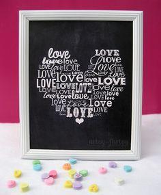 Free Printable Love Word Art at artsyfartsymama.com #freeprintable #Valentine