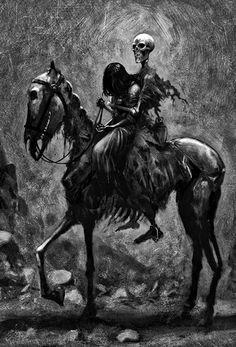 • scary death art girl Black and White creepy horror dark skull skeleton bones gothic Macabre grotesque twenty1-grams •