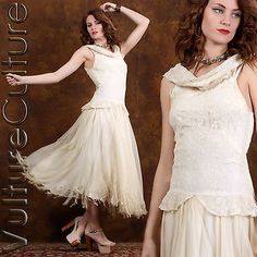 Vintage-40s-Ivory-Silk-Lace-Embroidered-SHABBY-Rag-Airy-Fringe-Wedding-Dress-S-M