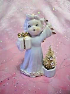 VTG Christmas Blue Girl Angel Holds Candy Cane Bottle Brush Tree Figurine