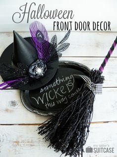 Halloween witch hat and broom decor using @decoart Clear Chalkboard Coating.
