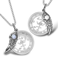 Love Couples Archangel Michael Sigils Amulets Set Angel Wings White and Sky Blue Cats Eye Charm Necklaces