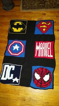 Completed crochet superhero blanket