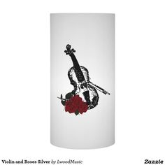 Sold Violin and Roses Silver Flameless Candle