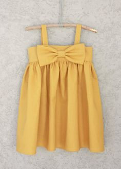 Mustard Yellow Big Bow Dress, Baby and Toddler Girl dress, on Etsy, $65.00