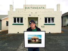 Robin Morrison: Helensville art historian and curator John Perry stands outside the old Kaitangata borough chambers, now used by Kaitangata and Districts Pr. Photo Documentary, Documentary Photography, Ho Chi Minh Trail, John Perry, Mood And Tone, Photo Book, Street Photography, Documentaries, Robin