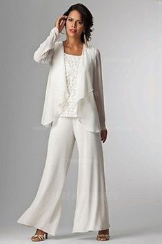 Ivory Long Sleeve Pant Suits Ankle-length Mother Of The Bride Dress With Jacket