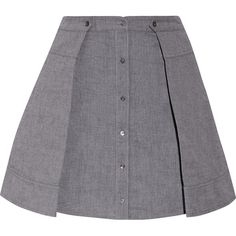 T by Alexander Wang - Pleated Cotton Mini Skirt ($133) ❤ liked on Polyvore featuring skirts, mini skirts, grey, grey pleated skirt, short mini skirts, grey skirt, grey mini skirt and gray mini skirt