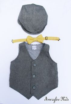 Boys Grey Vest, Infant to Teen, Wedding Ring Bearer Vest, Page Boy Outfit, by Boyish Charm & Co.