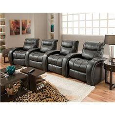 Nova 3 Seat Home Theater Seating with Storage Wedges by