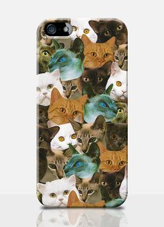 CAT crazy retro style collage, mobile phone case. Available on: iPhone 4, iPhone 5, Samsung s3, Samsung s4. by TheSmallPrintCases, £10.99
