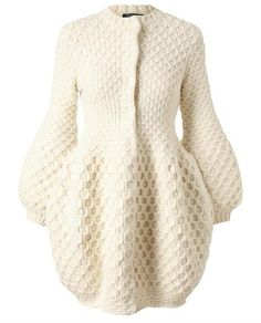 Alexander Mcqueen Honeycomb Knitted Wool Cardigan in White (ivory)