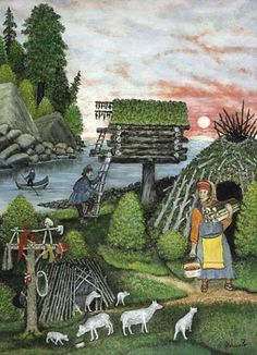 Sámi, modern folk art. I don't know the artist, but I like folk art and don't see enough of it.