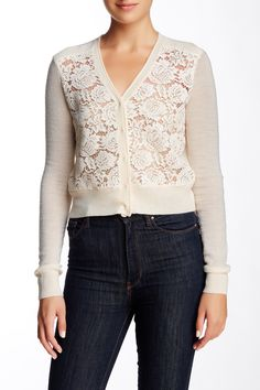 Rebecca Taylor - Lace Front Cardi at Nordstrom Rack. Free Shipping on orders over $100.