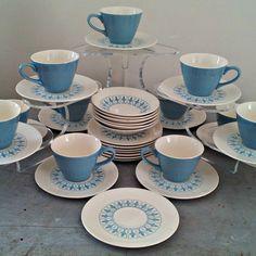 Vintage Homer Laughlin Blue Fleur De Lis China by DollFood on Etsy