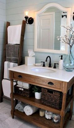 Country Bathroom Idea On A Budget. 20 Country Bathroom Idea On A Budget. Shades Of Blue Interiors Bathroom Remodel Country Bathroom Rustic Chic Bathrooms, Cottage Style Bathrooms, Dream Bathrooms, Downstairs Bathroom, Small Bathroom, Bathroom Ladder, Bathroom Ideas, Budget Bathroom, Remodel Bathroom