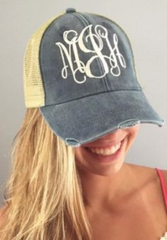 Distressed Trucker Hat Monogram - at CoralCreekCo -coralcreekco.com Fedora  Hat c9a02a004d24