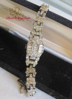Vintage Art Deco Bracelet Watch Rhinestone by SheriesVintageJewels