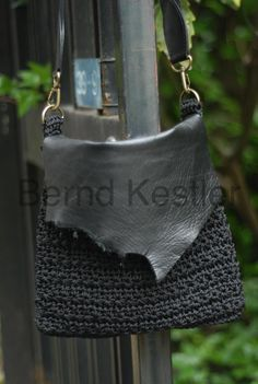Crochet Shoulder Bag with Leather Element