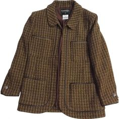 Pre-owned Chanel Wool Suit Jacket ($774) ❤ liked on Polyvore featuring outerwear, jackets, brown, chanel jacket, woolen jacket, brown jacket, chanel and wool jacket
