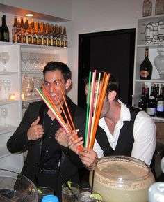 Punch makes people smile. Greg (of Hosteria del Piccolo) & Zach at Bagatelle